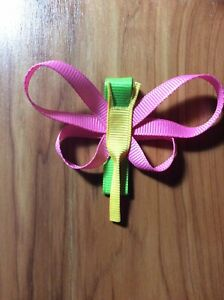 Dragon Fly Hair Bow Toddler Multi Colored Pink Yellow Green