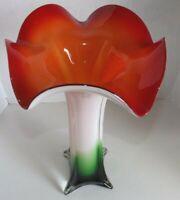 """Vtg Murano Style Trumpet Tulip Shape Vase Red White Green Art Glass 14.5"""" Tall"""
