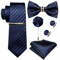 Herren Seide Krawatte Set Einstecktuch Krawattennadel Ring Gestreifte Gold Blau