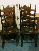 Four S. Bent & Bros Colonial Ladder back Chairs