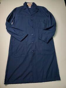 Red Kap Long Lab Work Coat Sz 36-R Unisex Doctors Jacket Navy Blue Button Up