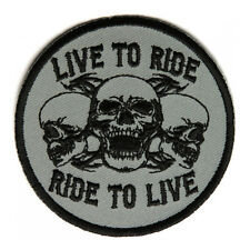 Embroidered Live To Ride Ride to Live Three Skulls Iron on Patch Biker Patch
