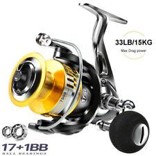 2021 Fishing Spinning Reels All Metal 17+1Bb Freshwater Seawater 33lb Max Drag