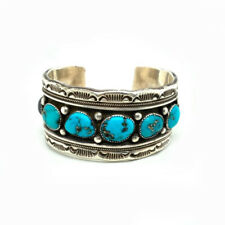 Heavy Marc Antia Apache Sterling Silver Turquoise Onyx Cuff 189.1 grams!