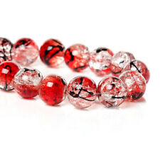 50 BEAUTIFUL HIGH QUALITY GLASS ROUND RED BEADS - STUNNING 10mm