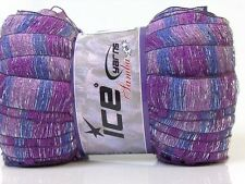 SAMBA Frilly Acrylic Scarf YARN - PURPLE Mix with SILVER GLITZ - Per Ball