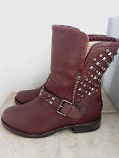 Ugg Java Leather Sheepskin Lined Studded Moto Buckle Boots 7US/5.5UK RARE