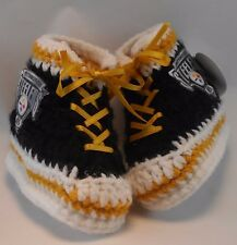 Custom Handmade Crochet Pittsburgh Steelers Football High Tops Baby Booties