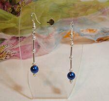 Pierced Earrings Long Royal Blue Glass Pearl Silver Tone Filigree Bead Dangle