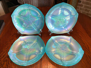 "Four (4) Beautiful Akcam Iridescent Teal Glass Starfish Design 8"" Plate"