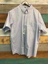 NEW Geoffrey Beene Shirt Mens Sz 18 Button Down Short Sleeve Blue