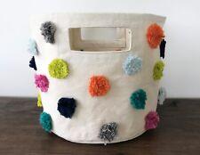 "Petit Pehr Cotton Canvas Colorful Pom-Pom Dots Nursery Storage Pint Bin 15""x12"""