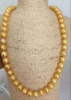 """18"""" AAA 11-10 MM SOUTH SEA NATURAL GOLDEN  PEARL NECKLACE 14K GOLD CLASP"""