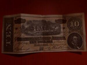 1864 confederate 10 dollar bill