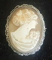 Silver & carved shell cameo vintage Art Deco brooch