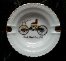 """Vintage Ashtray Fords First Car 1896 Small White with Gold Trim Japan 3.5"""""""