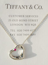 Tiffany & Co Elsa Peretti Open Heart Pink Sapphire Sterling Silver Necklace