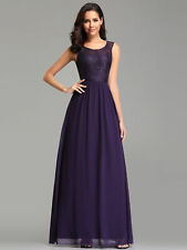 Ever-Pretty Long Lace Bridesmaid Prom Dresses  A-Line Cocktail Wedding Prom Gown