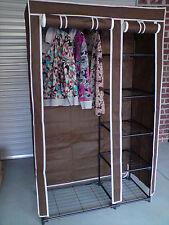 Brand New Portable Steel Tube Canvas Wardrobe (Brown)