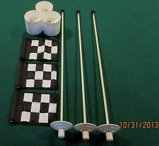 "PUTTING GREEN PACKAGE - 3 POLES - 3 B/W CHK FLAGS 6""X8"" -  3 PLASTIC CUPS"
