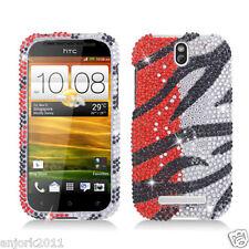 HTC ONE SV Cricket Boost Diamond Hard Snap-On Case Cover Orange Silver Zebra