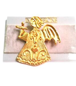"""Gold Tone Angel Pin with Cross Heart and HOPE Vintage Figural Brooch 17/8""""x13/4"""""""