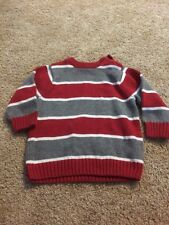 The Children's Place Red White Gray Striped Sweater Infant Boys 12 Months