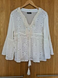 NATURA Ivory Cream Embroidered Broderie Anglaise Tunic Blouse Top Size L 12-14