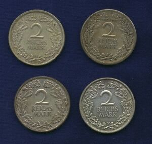 GERMANY WEIMAR  2 REICHSMARK SILVER COINS: 1925-A-F, 1926-G-J, GROUP LOT OF (4)