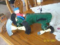 Folk Art Vtg Rare Handmade Wooden Whirligig Farmer & Green Tractor & Spinner's
