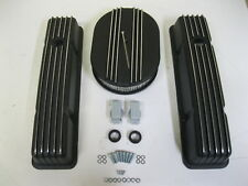 "58-86 Chevy Tall BLACK Aluminum Finned Valve Covers + 12"" Air Cleaner Kit SBC"