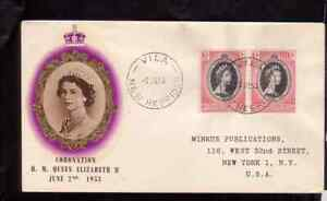 British New Hebrides 1953 FDC 1st day cover QE II coronation BPA