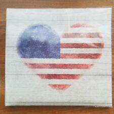 "20 Page Top Load 12""x12"" Scrapbook Photo Album ""American Flag Heart"" Love USA"