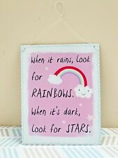 Pink Rainbow Metal Sign, Motivational Wall Hanging, Glitter Star Decor