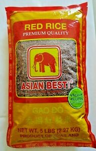 Red Rice (5) pound bag. Imported from Thailand. Vacuum Packed.