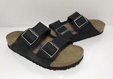 Birkenstock Arizona Soft Footbed Black Leather Slide Sandals Sz 37 EU 6-6.5 US