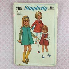 Vtg 1960s Simplicity 7187 Pattern Girls Dress Sz 4 Inverted Pleat Zipper Jumper