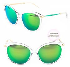JIMMY CHOO Cat Eye Sunglasses IVE/S 7VNZ9 Green Blue Mirrored Lenses