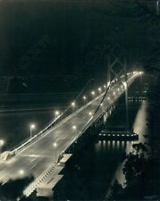 1938 Stunning Night Time Photo Of The California Bay Bridge By Gabriel Moulin