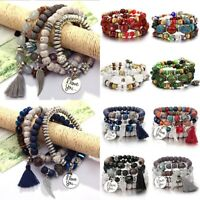 Boho Multilayer Natural Stone Beads Tassel Pendant Bracelet Charm Womens Set Hot