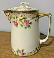Antique Hand Painted Nippon Pink Flowers Pitcher with Lid c. 1891 - 1921