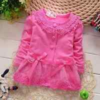 Baby Spring Autumn Lace Bow Flower Coat Girl's Long-Sleeved Outwear Cardigan