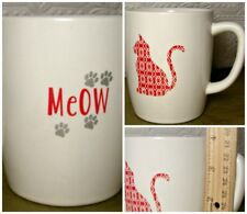 Meow Cat Coffee Mug Quilted Kitty Paw Prints