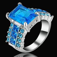 Size 7 Rhodium Plated Wedding Engagement Ring Sapphire Blue Gem Bridal Princess