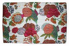 Ethnic Bedspread Ralli King SIze Vintage Kantha Quilt Indian Handmade Blanket Fr