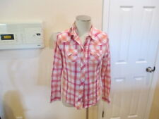 Cumberland Her women Rodeo Western wear Long Snap button M pink plaid bling