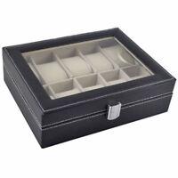 10 Slot Black Watch Box Leather Display Case Organizer Top Glass Jewelry Storage