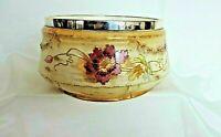 Antique Porcelain Salad Server Platter Bowl Hand Painted Silver Plate Rim