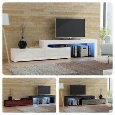 Erweiterbar TV Schrank Lowboard Fernsehtisch 148cm-280cm - Hochglanz Tür - LED