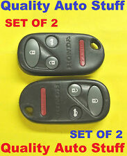 2X Set of 2 98-02 Honda Accord SE EX Remote FOB 4 Buttons Red LED KOBUTAH2T